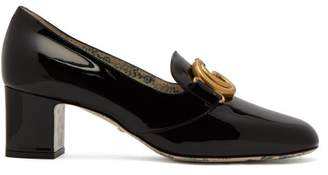 Gucci Gg Marmont Patent Leather Block Heel Loafers - Womens - Black