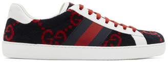Gucci Navy and Red Velvet GG Sneakers