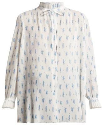 Balenciaga Ruffled Tie Neck Floral Print Plisse Blouse - Womens - White Print