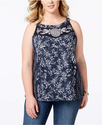 Style&Co. Style & Co Plus Size Cotton Mixed-Print Sleeveless Top, Created for Macy's