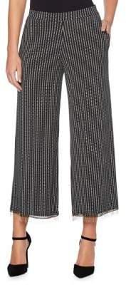 Rafaella Cropped Wide-Leg Dot and Dash Pants