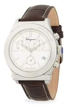 Salvatore Ferragamo Stainless Steel & Leather-Strap Watch