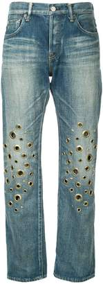 Tu Es Mon Trésor knee eyelet jeans short length