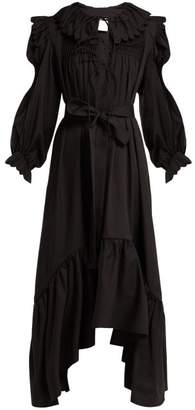 Horror Vacui Defensia Smocked Cotton Dress - Womens - Black