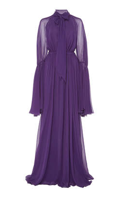 Giambattista Valli Fit and Flare Silk Maxi Dress
