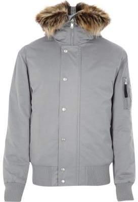 River Island Light grey faux fur trim hooded jacket