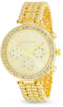 Steve Madden Women's White Jewel Bezel Disc Patterned Band Watch, 37mm