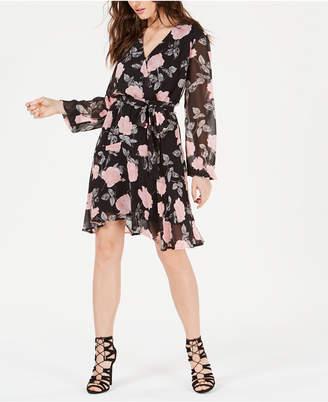 GUESS Jewel Rose-Print Surplice Dress
