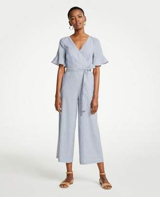 Ann Taylor Petite Fluted Sleeve Linen Blend Jumpsuit