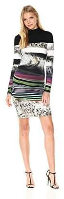 Nicole Miller Women's Gypsy Grunge Striped Jersey Long Sleeve Dress