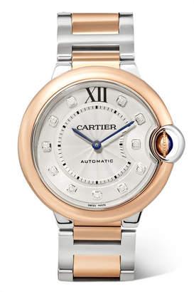 Cartier Ballon Bleu De 36mm 18-karat Rose Gold, Stainless Steel And Diamond Watch