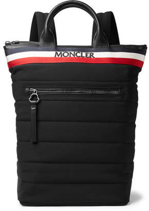 Moncler Cerro Convertible Webbing And Leather-Trimmed Quilted Shell Tote Bag