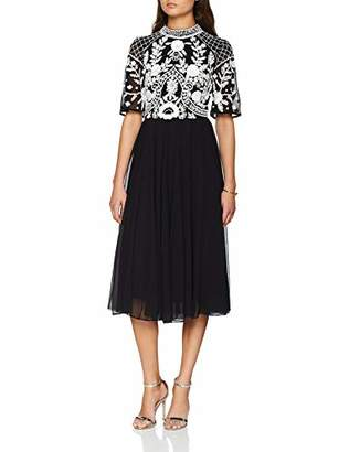 Frock and Frill Women's Embellished Bodice Skater Dress Party (Black with White Detailing)
