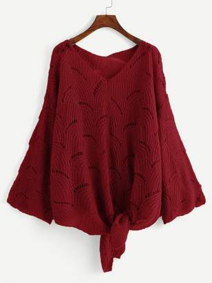 Shein Plus Loose Knit Knot Sweater