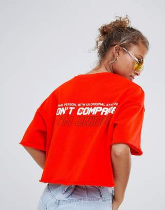 Bershka Cropped Awesome slogan tee