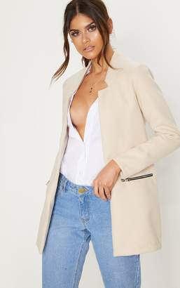 PrettyLittleThing Cream Zip Pocket Wool Coat