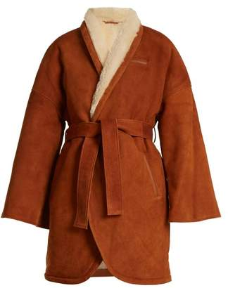 Osman Simona contrast-lapel shearling wrap coat