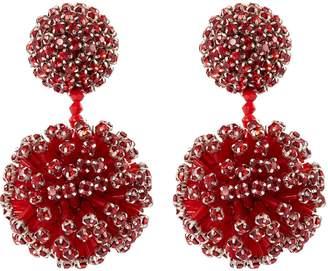 Oscar de la Renta Beaded ball drop clip glass crystal earrings