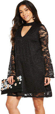 Lace Fluted Sleeve Swing Dress