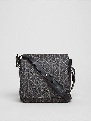 Calvin KleinCalvin Klein Womens Tina Monogram Flap Crossbody Bag Black Monogram
