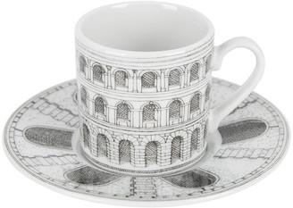 Fornasetti Architettura Espresso Cup & Saucer - Black/White