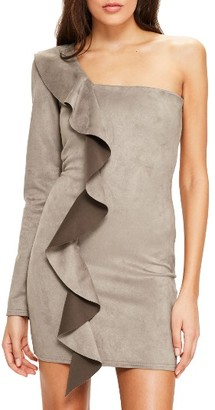 Women's Missguided One-Shoulder Suede Minidress $82 thestylecure.com
