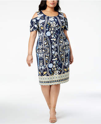 JM Collection Plus Size Printed Cold-Shoulder Sheath Dress, Created for Macy's