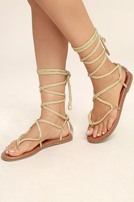 Madden Girl Juliie Gold Lace-Up Sandals $49 thestylecure.com