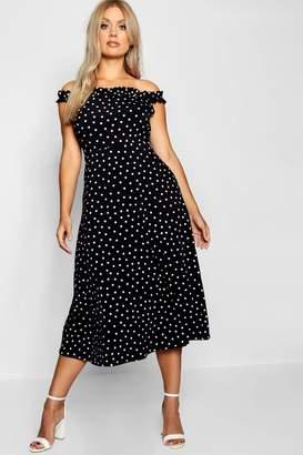 boohoo Plus Polka Dot Off Shoulder Skater Dress