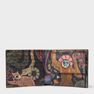 Men's Black Leather 'Monkey' Print Interior Billfold And Coin Wallet
