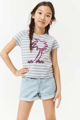 Forever 21 Girls Sequin Striped Palm Tree Tee (Kids)