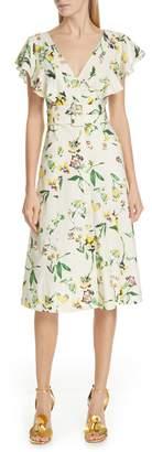 Tanya Taylor Inez Belted Linen Blend Dress