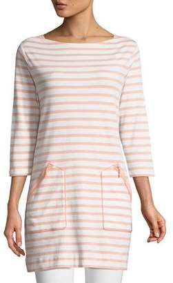 Joan Vass Striped Cotton Interlock 2-Pocket Tunic, Plus Size