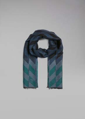 Giorgio Armani Knit Stole With Jacquard Chevron Motif