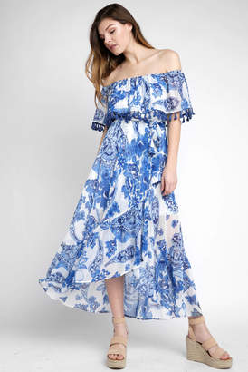 Abbeline Off Shoulder Exploded Paisley Print Wrap Maxi Dress
