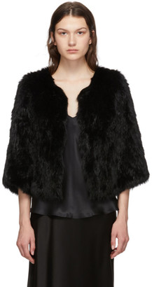 Yves Salomon Black Rabbit Fur Knitted Jacket