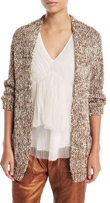 Brunello Cucinelli Waxed Tweed Open-Front Cardigan with Clear Paillettes