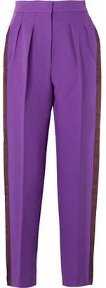 Roksanda Ricciarini Pleated Satin-trimmed Crepe Tapered Pants