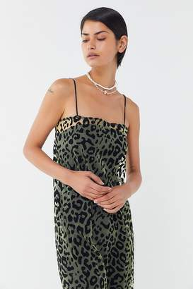 4d2f72911c Motel Maxine Flocked Animal Print Midi Slip Dress