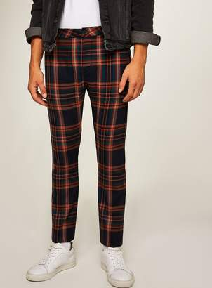 Topman Navy and Orange Check Stretch Skinny Trousers