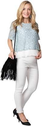 Sweet Mommy Maternity Super Stretch Vintage Denim Skinny Women's Jeans Frayed Off-White