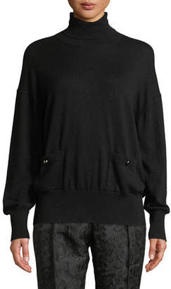 Kate Spade Turtleneck Patch-Pocket Sweater