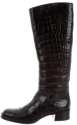Prada Crocodile Knee-High Boots