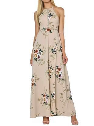 Romacci Women Dress Halter Neck Floral Print Sleeveless Summer Beach Dress (S, )