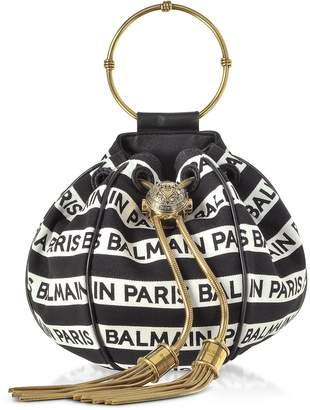Balmain Signature Print Mini B-Bucket Bag