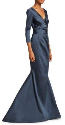 Theia Three-Quarter Sleeve Mermaid Gown