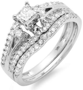 FineTresor Perfect 1 Carat Princess Diamond Wedding Ring Set in 14k White Gold