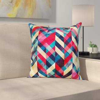 "East Urban Home Chevron Herringbone Pattern Square Pillow Cover East Urban Home Size: 16"" x 16"""