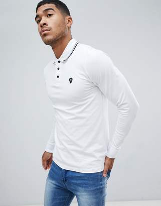 Replay logo long sleeve polo with tipped collar in white