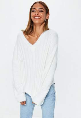 Missguided White Fluffy Ribbed Knit Sweater